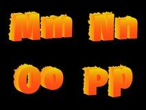 烧M, N, O, P,信件 免版税图库摄影