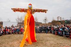 烧Maslenitsa场面假在东部斯拉夫语Mythologycal 免版税库存照片