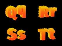 烧Q, R, S, T,信件 库存图片