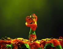 热中国人舞蹈民间的女孩 免版税库存照片