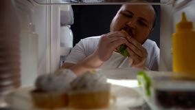 热切地吃汉堡的使上瘾的肥胖人在晚上,不健康的营养,饮食 库存图片