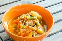 热和变酸,鱼和菜蔬菜炖肉 免版税库存照片