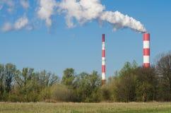 热和能源厂在华沙 免版税库存照片