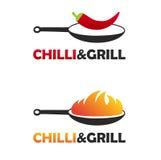 热和辣中国食物商标设置了与两个黑平底锅 有火的平底锅和平底锅用辣椒 免版税库存照片