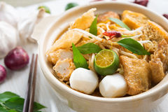 热和辣新加坡咖喱面条 图库摄影