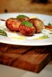热和辣泰国烤香肠 免版税库存图片