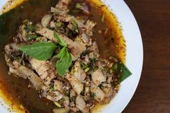 热和辣烤猪肉沙拉,Nam图克Moo,特写镜头 免版税图库摄影