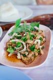 热和辣烤猪肉沙拉Nam Tok Moo 免版税库存图片