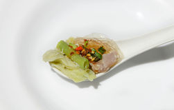 热和辣猪肉在泰国 (Jaew垫铁) 库存照片