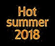 热在黑色的夏天2018火焰状题字 免版税库存图片