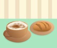 热奶咖啡和面包 库存图片