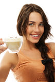 热奶咖啡咖啡杯逗人喜爱的愉快的妇女 库存图片