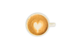 热奶咖啡或拿铁在被隔绝的白色的艺术咖啡 库存照片