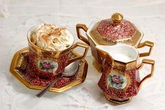 热奶咖啡时间 免版税库存图片