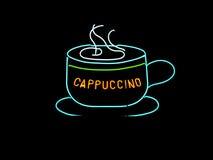 热奶咖啡杯子霓虹灯广告 免版税库存图片