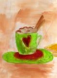 热奶咖啡用桂香。 免版税库存照片