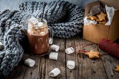 热巧克力和姜星 图库摄影