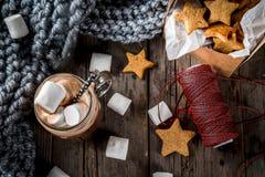 热巧克力和姜星 免版税库存照片
