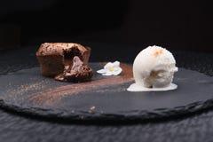 热巧克力布丁 免版税库存图片