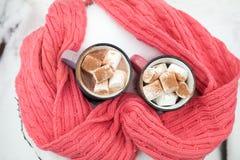 热巧克力用在桃红色杯子的蛋白软糖 库存照片