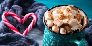 热巧克力用在绿色的蛋白软糖 库存照片