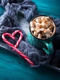 热巧克力用在绿色的蛋白软糖 免版税库存图片