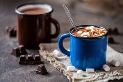 热巧克力用在金属的小的蛋白软糖盘旋 库存图片