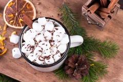 热巧克力用蛋白软糖、桂香和香料在一个木板 库存照片