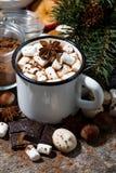 热巧克力用蛋白软糖和甜点在木背景 免版税库存照片