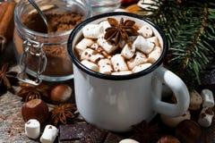 热巧克力用蛋白软糖和甜点在木背景 免版税图库摄影