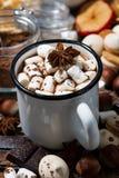 热巧克力用蛋白软糖和甜点,垂直的特写镜头 免版税图库摄影