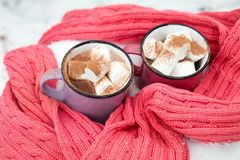 热巧克力用蛋白软糖在桃红色和紫罗兰色两个杯子中wrapp 免版税库存图片