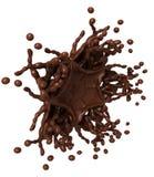 热巧克力飞溅:与下落的液体形状 库存图片