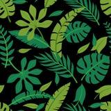 热带传染媒介五颜六色的叶子无缝的样式 夏天设计 向量例证