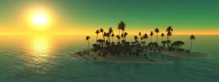 热带全景、日落和棕榈树 免版税库存照片