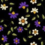 热带刺绣花卉无缝的样式 向量例证