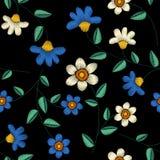 热带刺绣花卉设计无缝的样式 皇族释放例证