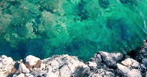 热带加勒比海滩绿色和蓝色海看法上面有金沙子和岩石的,假日,缓慢的海运动放松和 股票视频