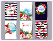 热带可印的集合 导航卡片,笔记,并且与toucan的横幅,海滩,棕榈树,木槿开花 向量 库存图片
