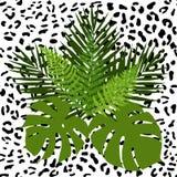 热带叶子和动物皮毛无缝的样式 库存照片