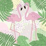 热带叶子和火鸟夏天横幅、图表背景、异乎寻常的花卉邀请、飞行物或者卡片 向量例证