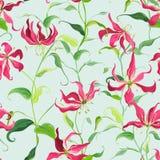 热带叶子和花卉背景-火百合花-无缝的样式 免版税图库摄影