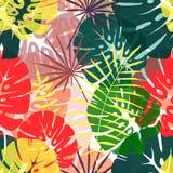 热带叶子的无缝的样式 免版税库存照片