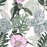 热带叶子的花卉时髦无缝的样式 向量例证