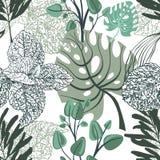 热带叶子的花卉时髦无缝的样式 库存例证