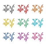 热带叶子竹树象或商标,彩色组 皇族释放例证