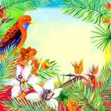 热带叶子,异乎寻常的鹦鹉鸟,兰花花 水彩卡片 图库摄影