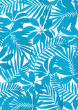 热带叶子水色蓝色 免版税库存图片