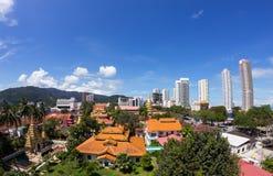 热带城市,槟榔屿, Ma完善的全景  免版税库存照片