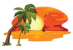 热带夏天的日落 库存照片